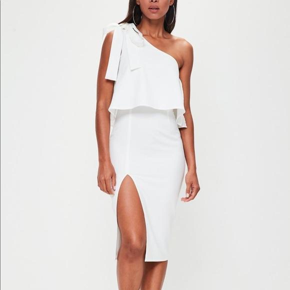 51ed3c36d0d Missguided Dresses | White Crepe One Shoulder Bow Sleeve Midi Dress ...